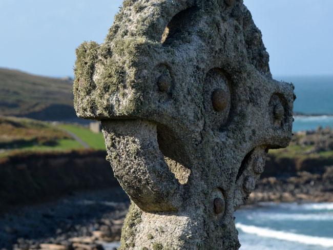 Celtic cross near sea